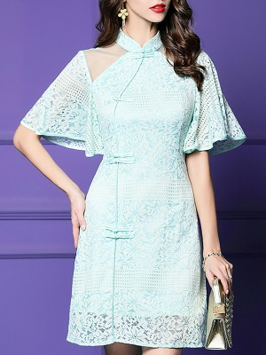 Stand Collar Guipure Lace Sheath Party Elegant Midi Dress