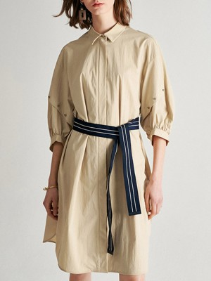 Shirt Collar Khaki Solid Buttoned Sheath Date Elegant Midi Dress