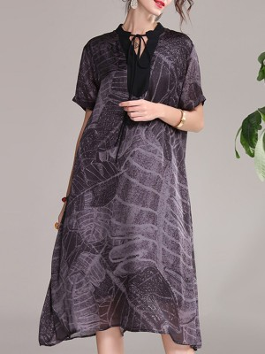 Tie-Neck Purple Summer A-Line Daily Printed Leaf Midi Dress