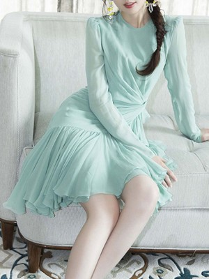 Long Sleeve Sheath Date Sweet Asymmetric Ruffled Midi Dress