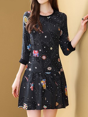 Black Summer A-Line Daily Casual Graphic Printed Mini Dress