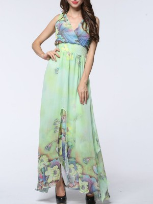 Surplice Neck Floral Printed Swing Summer Holiday Maxi Dress