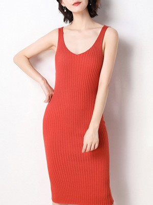 Summer Spaghetti Bodycon Knitted Daytime Solid Midi Dress