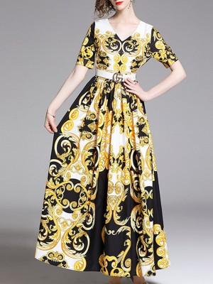 V Neck Golden Summer Swing Paneled Graphic Holiday Maxi Dress