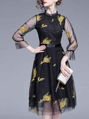 Leaf Embroidered A-Line Stand Collar Elegant Paneled Midi Dress