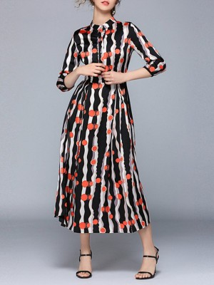 Stand Collar Summer Striped A-Line Paneled Maxi Dress