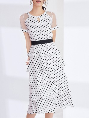 Keyhole Summer A-Line Date Elegant Tiered Paneled Midi Dress