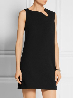 Black Summer Sleeveless Sheath Work Zipper Solid Mini Dress