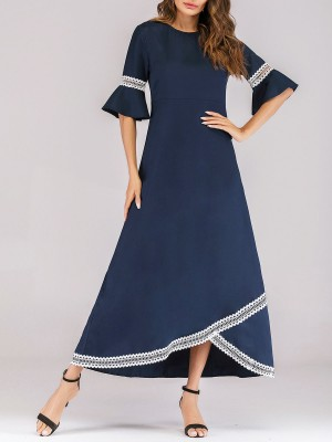 Deep Blue Summer A-Line Guipure Lace Casual Maxi Dress