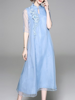 Light Blue Summer A-Line Paneled Floral Embroidered Maxi Dress