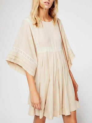 Summer Beige A-Line Daily Casual Lace Solid Midi Dress