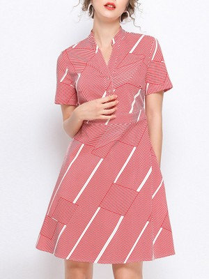 V Neck Red Summer A-Line Date Casual Striped Printed Mini Dress