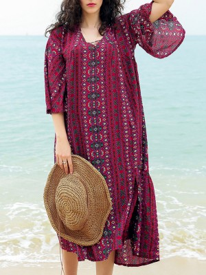 V Neck Bell Sleeve Shift Beach Holiday Paneled Summer Midi Dress