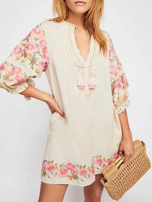 Tie-Neck Apricot Shift Beach Boho Dress
