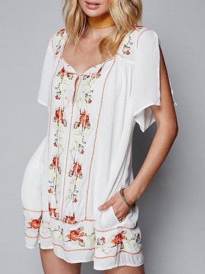 Square Neck White Shift Beach Cotton Mini Dress