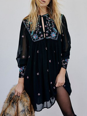 Black Shift Daytime Floral Embroidered Paneled Buttoned Casual Midi Dress