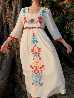 White Summer Holiday A-Line Daily Casual Bohemian Maxi Dress