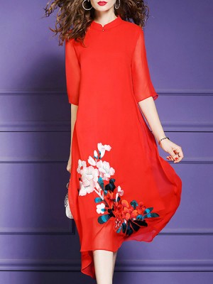 Stand Collar A-Line Daily Casual Floral Embroidered Midi Dress