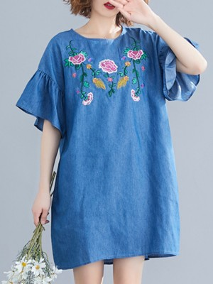 Summer Shift Daily Floral-embroidered Paneled Casual Midi Dress