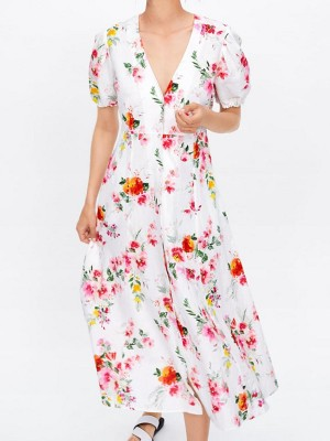 V Neck Summer A-Line Date Floral Printed Holiday Maxi Dress