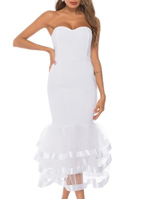 Strapless Solid Paneled Ruffled Backless White Sheath Party Maxi Dress