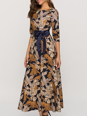 Crew Neck Leaf Printed A-Line Summer Holiday Beach Maxi Dress