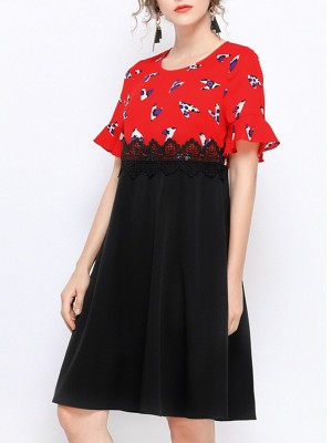 Crew Neck Frill Sleeve A-Line Paneled Printed Daytime Casual Midi Dress