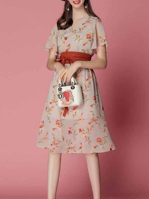 V Neck Holiday Daily A-Line Casual Floral Printed Midi Dress
