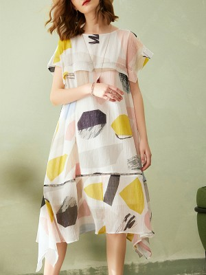 White Patchwork Lined A-Line Daily Casual Paneled Midi Dress