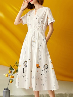 Keyhole White A-Line Daily Paneled Graphic Printed Casual Midi Dress