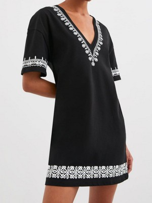 V Neck Black Summer Shift Daily Embroidered Midi Dress