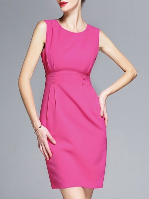 Rose Red Elegant Sheath Work Paneled Sleeveless Mini Dress