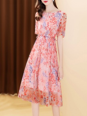 Pink Summer Lightweight A-Line Paneled Floral Printed Midi Dress