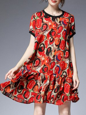 Red Holiday Daily Paneled Abstract Printed Mini Dress