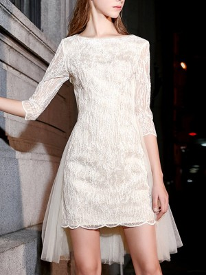White Solid Crew Neck Half Sleeve Paneled A-Line Party Midi Dress