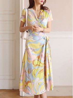 V Neck Multicolor Holiday Sheath Daily Printed/dyed Abstract Midi Dress