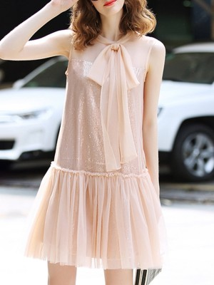Crew Neck Sleeveless A-Line Paneled Shimmer Date Sweet Midi Dress
