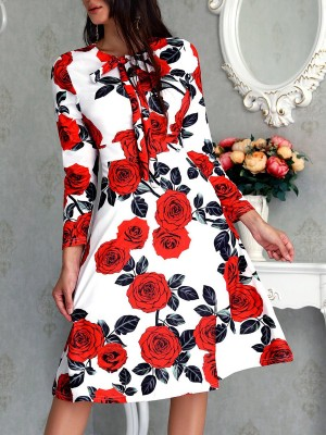 Red Floral-Print A-Line Daily Casual Holiday Midi Dress