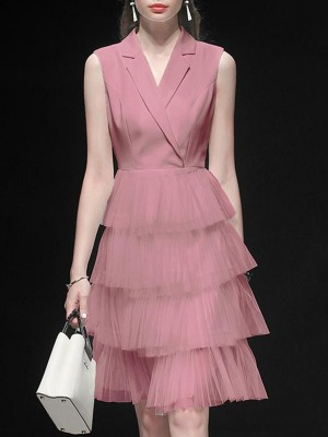 Lapel Dusty Pink Paneled A-Line Work Elegant Midi Dress
