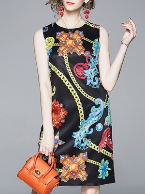 Summer Black Graphic Printed A-Line Daily Holiday Midi Dress