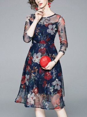 See-Through Look A-Line Going Out Casual Floral Midi Dress