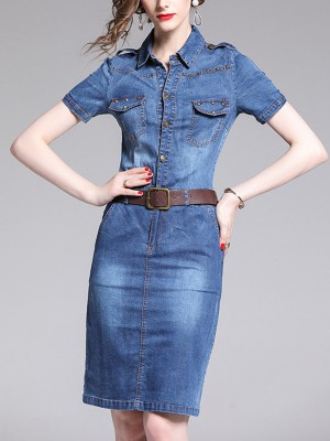 Shirt Collar Blue Sheath Paneled Solid Jean Midi Dress