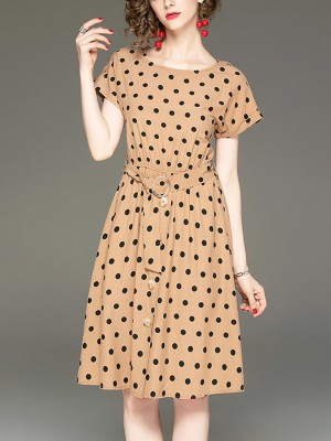 Daily Casual Polka Dots Midi Dress