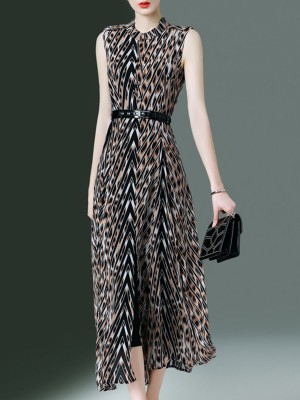 Stand Collar A-Line Leopard Maxi Dress With Belt