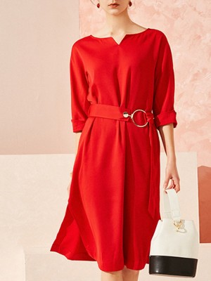 Summer Elegant Date Solid Midi Dress