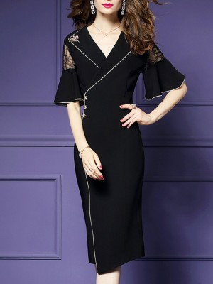 Lapel Sheath Work Elegant Solid Midi Dress
