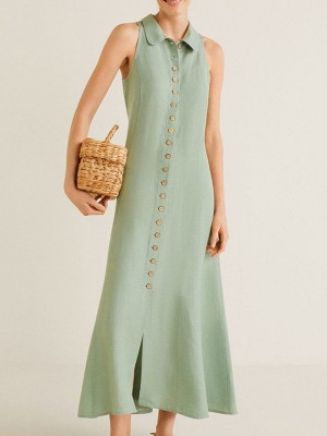 Shirt Collar Shift Daily Solid Maxi Dress