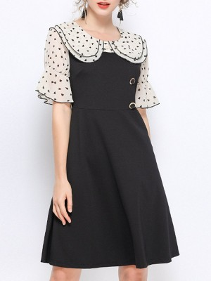 Black Date Paneled Midi Dress