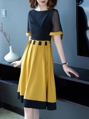 Black-Yellow Statement Paneled Daily Midi Dress