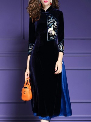 Dark Blue Elegant Embroidered Midi Dress